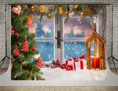 Amazon.com : SUSU Winter Photography Backdrops 7x5ft Window Christmas Tree Background Photo Beads Decoration Photo Shoot : Electronics