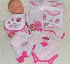 Baby Mädchen Geschenkset  Strampler Gr. 56/62  5 Teile Englandsmode