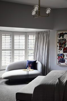 MIM Design bedroom sanctuary with Arflex Bonsai sofa perfectly tucked in the bay window with shutters. Decor, Contemporary Interior, Mid Century Bedroom, Bedroom Decor, Interior Design, Home Decor, House Interior, Traditional Decor, Home Decor Tips
