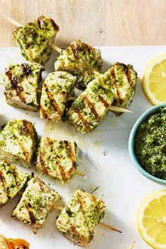 Swordfish Kebabs with Mint Pesto - GoodHousekeeping.com