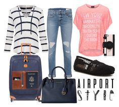 """""""Airport Style"""" by horselover35125 ❤ liked on Polyvore featuring Replace, Splendid, rag & bone, Bric's, MICHAEL Michael Kors, TOMS, This Is Ground, Kate Spade, GetTheLook and airportstyle"""