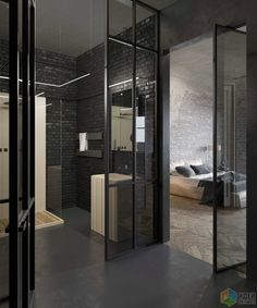 Дизайн квартиры в стиле лофт, брутальный интерьер, стеклянные двери и перегородки