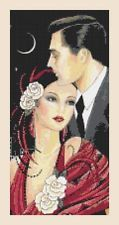 ART DECO CROSS STITCH CHART - FLAPPER LADY IN RED, COUPLE IN THE CITY - no16B