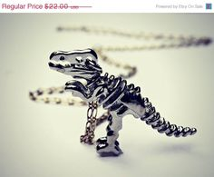 FLASH SALE silver dinosaur necklace, T-rex necklace, dinosaur skeleton, skeleton necklace, bone necklace, kitsch necklace, long necklace by alapopjewelry on Etsy https://www.etsy.com/listing/103832160/flash-sale-silver-dinosaur-necklace-t