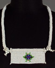 South Africa | Beaded panel ~ impondweni ~  from the Zulu people | Glass beads and cotton.