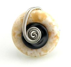 Wire Wrap Button Ring Marbled Cream and by TrinketsNWhatnots