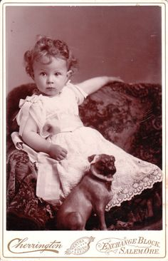 This vintage dog photograph features an adorable little girl in a lace dress posed next to her pug dog. The photographer is Cherrington & Bro. of Salem, Oregon, c. Via The Cabinet Card Gallery. Vintage Children Photos, Vintage Pictures, Vintage Images, Pug Photos, Pug Pictures, Tier Fotos, Vintage Dog, Pug Love, Vintage Photographs