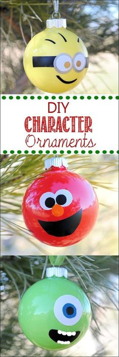 Minion Christmas Ornaments DIY and Grover Minion Christmas, Noel Christmas, Diy Christmas Ornaments, Christmas Projects, Winter Christmas, All Things Christmas, Holiday Crafts, Holiday Fun, Christmas Decorations
