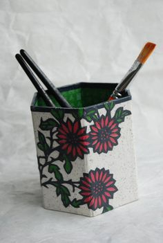 Flower Hanji Pen Holder Pencil Case Desktop Handmade by HanjiNaty