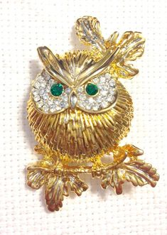 Gold Plated Swarovski Owl Brooch Pin | Jewelry & Watches, Fashion Jewelry, Pins & Brooches | eBay!
