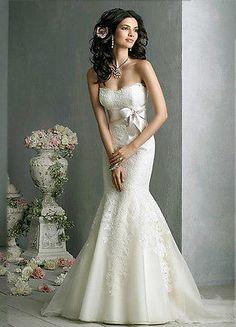 White Ivory Lace Mermaid Wedding Dress Bridal Gown Stock Size 6 8 10 12 14 16