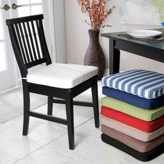 Inspiring Dining Room Seat Cushions Collection - Dining Room Seat Cushions and + Beautiful Indoor Dining Room Chair Cushions Inspiring - Grey Dining Room Chairs, Black Kitchen Chairs, Comfortable Dining Chairs, Leather Dining Chairs, Blue Chairs, Dining Rooms, Kitchen Dining, Wooden Chairs, Kitchen Pantry