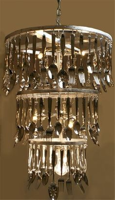 Art Now you could buy an old chandelier that has the crystals on it and replace them with cutlery.great recycle diy Art Now you could buy an old chandelier that has the crystals on it and replace them with cutlery. Recycled Kitchen, Old Kitchen, Kitchen Stuff, Funky Kitchen, Kitchen Ideas, Rustic Lighting, Interior Lighting, Lighting Design, Lighting Ideas