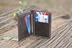 Minimalist wallet  vertical thin wallet leather mini by wingedsail