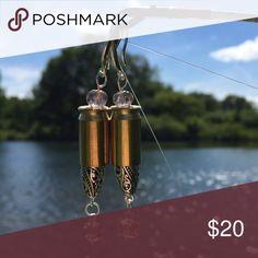 Bullet Earrings 925 Bullet Earrings w/crystals 925 hooks,Country Bling, Bullet Jewelry 380 Casings  Jewelry Earrings