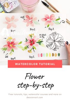 Loose Style Flower Watercolor Painting Tutorial In this watercolor tutorial, you will learn how to paint a loose style flower with watercolor. Click the image or link above to see the full art tutorial. Watercolor Pencil Art, Watercolor Flowers Tutorial, Watercolor Painting Techniques, Watercolor Lettering, Easy Watercolor, Watercolour Tutorials, Flower Tutorial, Watercolor Illustration, Floral Watercolor