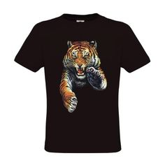Ethno Designs Kids Excotic Wildlife Little Boys Predator TShirt Jumping Tiger regular fit size 34 years black ** Check this awesome product by going to the link at the image.Note:It is affiliate link to Amazon. #funny