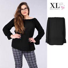 3f69c6c5b396f3 Czarna bluzka hiszpanka dostępna w sklepie XL-ka w dużych rozmiarach. Modny  fason i