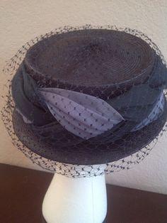 Vintage VELDA ORIGINAL HAT Straw and Netted. $11.00, via Etsy.