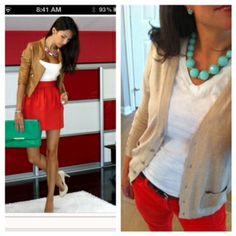 Red jeans/pants + white  shirt + mint necklace + light tan sweater = business casual / weekend outfit