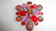 Retro Pink & Red Cabochons With Ruby Red Aurora Borealis Marquis Design Stones Brooch by TimsSecretTreasures on Etsy