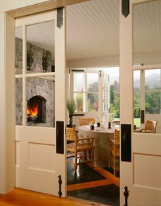 huge pocket doors leave rooms feeling connected, but you can separate off if need be! Really like the pocket doors idea! Sunroom Addition, Room Additions, Interior Barn Doors, Windows And Doors, Mdf Doors, Sliding Doors, French Doors, Great Rooms, My Dream Home