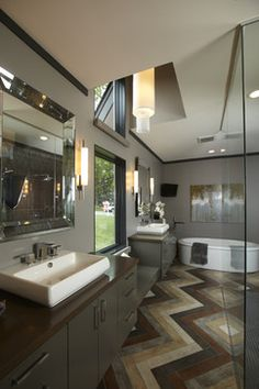 This floor! The rest of it is pretty fabulous, too. Contemporary Bathroom, Highmark Builders, Design-Build Firms