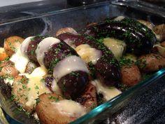 Boudin de Cochon Cent Façons, pomme de terre grelot et oignon rôti, persil et ciboulette du jardin, cheddar fort, MiAMmmmm!!