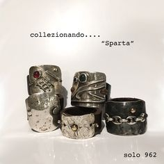 collezione Sparta by 962 silver ring with leather and stones Unique design. Florence. Italy
