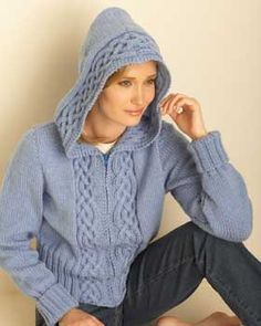 This casual hooded cardigan has beautiful aran-inspired cabling.-free pattern