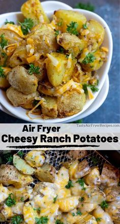 This Air Fryer Cheesy Ranch Potatoes Recipe is a great side dish idea. , This Air Fryer Cheesy Ranch Potatoes Recipe is a great side dish idea. This Air Fryer Cheesy Ranch Potatoes Recipe is a great side dish id. New Air Fryer Recipes, Air Fryer Recipes Vegetarian, Air Fryer Recipes Breakfast, Air Frier Recipes, Air Fryer Dinner Recipes, Vegetable Recipes, Healthy Recipes, Air Fryer Recipes Potatoes, Easy Recipes