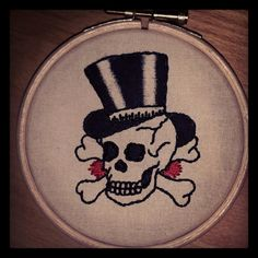 Handmade Stitched Wall Hanging of Sailor Jerry Skull and Top Hat Tattoo Flash Design Embroidery