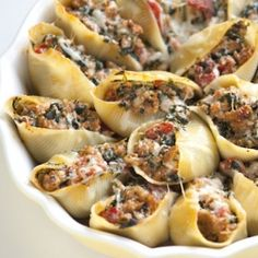Baked Shells with Sausage and Spinach. Very good and easy to double. Don't add so much spinach next time.