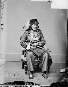 Portrait (Front) of Black Buffalo(Arikara) in Partial Military Uniform and Native Dress with Peace Medal and Holding Pipe-tomahawk, 1877 by William Henry Jackson (1843-1942)