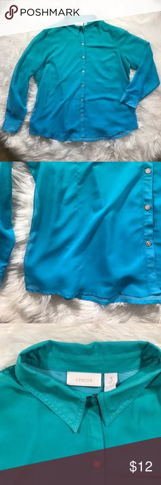 • Chicos • Size 3 Sheer Ombré Button Down Shirt - Chicos  - Ombré Button Down  - Green and Blue - Sheer - Has a Snag (pictured)  - Size 3 (Large) Chico's Tops Button Down Shirts