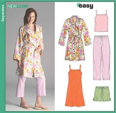 New Look 6523 Misses Pajama Pants, Shorts, Robe and Knit Nightgown or Top New Look Patterns, Sewing Patterns, Pattern Library, Nightgown, Sewing Hacks, My Wardrobe, Lounge Wear, Kimono Top, Pajama Pants