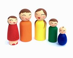 Peg Family, Peg Dolls, Dollhouse Family, Dollhouse Dolls, Waldorf Toys, Waldorf Dolls, Gifts for Kids, Little People, Wood People