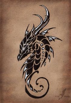"""The first of """"Moon dragons trio"""" tattoo design set, the dragon of a Moonless sky.Black and white pen on a brown paper. Dragon of a Moonless sky Tatoo Art, Tattoo Drawings, Body Art Tattoos, Cool Tattoos, Art Drawings, Tatoos, Men Tattoos, Small Tattoos, Sleeve Tattoos"""