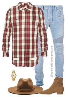 """""""Rich Cowboy"""" by highfashionfiles ❤ liked on Polyvore featuring Balmain, rag & bone, Yves Saint Laurent, Off-White, Rolex, men's fashion and menswear"""