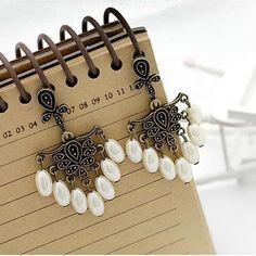 Pearl Resin Bead Post back Dangle Earrings