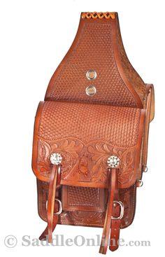 Extra Large Chestnut Western Horse Leather Saddle Bags $124.99