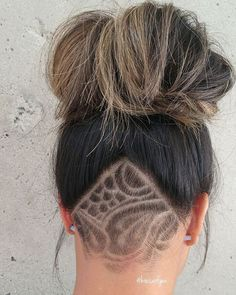 Shaved Undercut Side Women Nape Designs Hair Tattoo