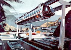 Futuristic Monorail in a highway median by Syd Mead.  1950s design.   #monorail  #SydMead