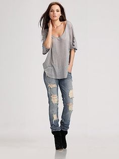 7 For All Mankind - Roxanne Skinny Distressed Jeans