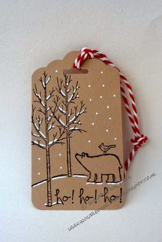 InvisiblePinkCards: Christmas tag using Stampin' Up White Christmas and Scal