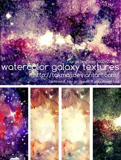 Watercolor galaxy textures by *takmaj on deviantART<<<i want to create this in watercolor and i just love the colors Watercolor Galaxy, Galaxy Painting, Galaxy Art, Watercolor Texture, Texture Painting, Watercolor Ideas, Tattoo Watercolor, Diy Wall Art, Diy Art