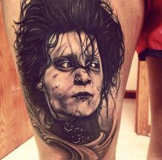 Edward Scissorhands by Max Egy -  	Portrait of Johnny Depp in the movie 'Edward Scissorhands', done on a client's thigh.