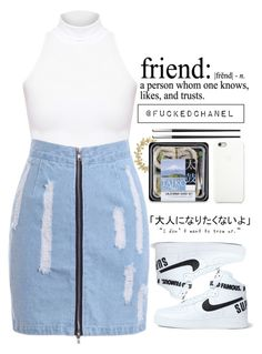 A fashion look from April 2015 featuring mock turtleneck, blue skirts and nike trainers. Browse and shop related looks. Lit Outfits, Cool Outfits, Summer Outfits, Denim Fashion, Star Fashion, Women's Fashion, Everyday Look, Everyday Fashion, Black Apple