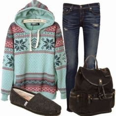 Casual Fall Outfit With Toms Flats and Jeans