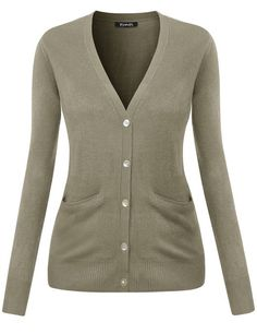 c8a643d2c3671 Thanth Womens V-Neck Long Sleeve Basic Knit Cardigan Sweater at Amazon  Women s Clothing store
